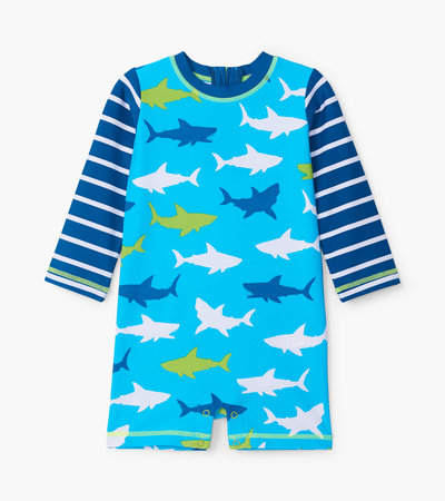Great White Sharks Baby Rashguard One-Piece