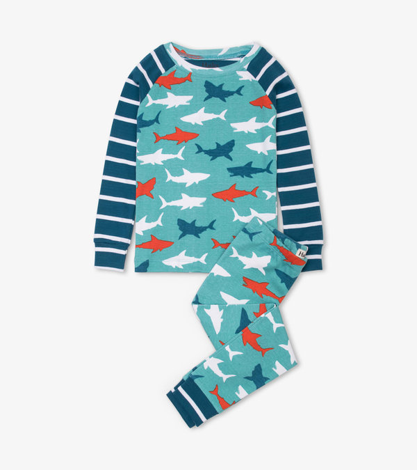 Great White Sharks Organic Cotton Raglan Pajama Set