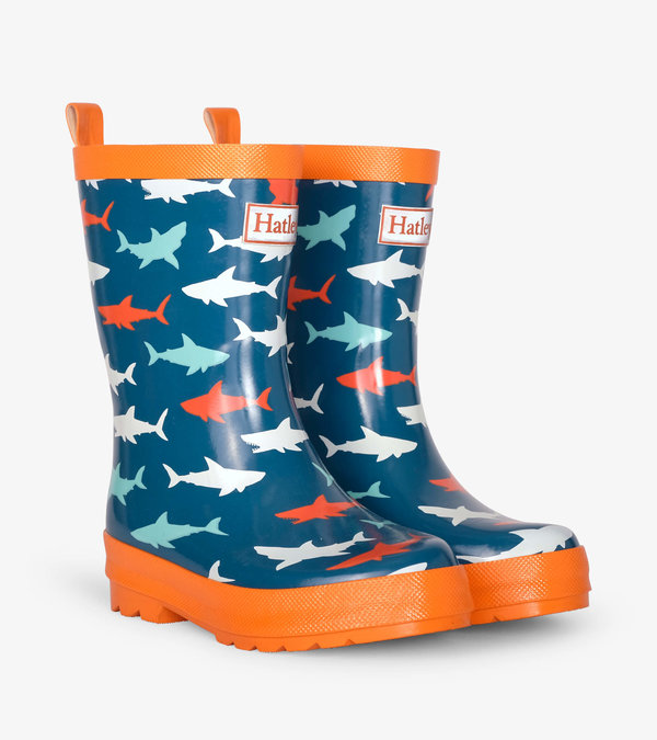 Great White Sharks Shiny Rain Boots