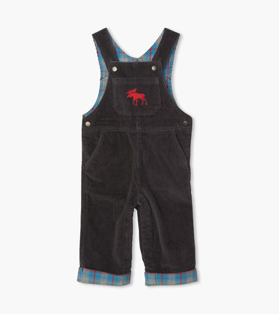 Grey Stretch Cord Baby Overalls