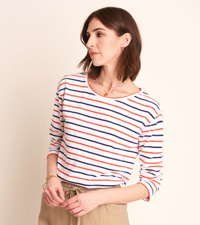 Hatley 3/4 Sleeve Tee - Red and Blue Stripes