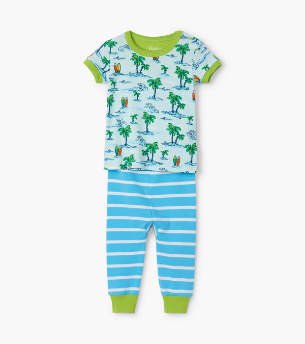 Hawaiian Tropics Organic Cotton Baby Short Sleeve Pajama Set