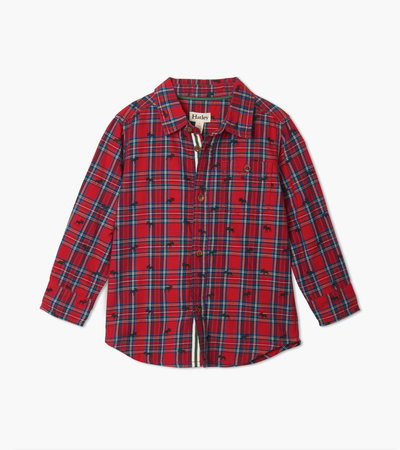 Holiday Plaid Moose Button Down Shirt