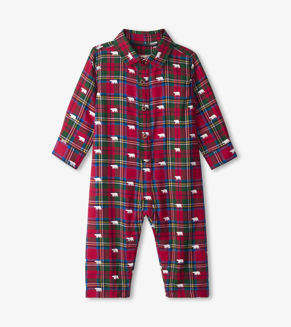 Holiday Polar Bears Button Down Baby Romper