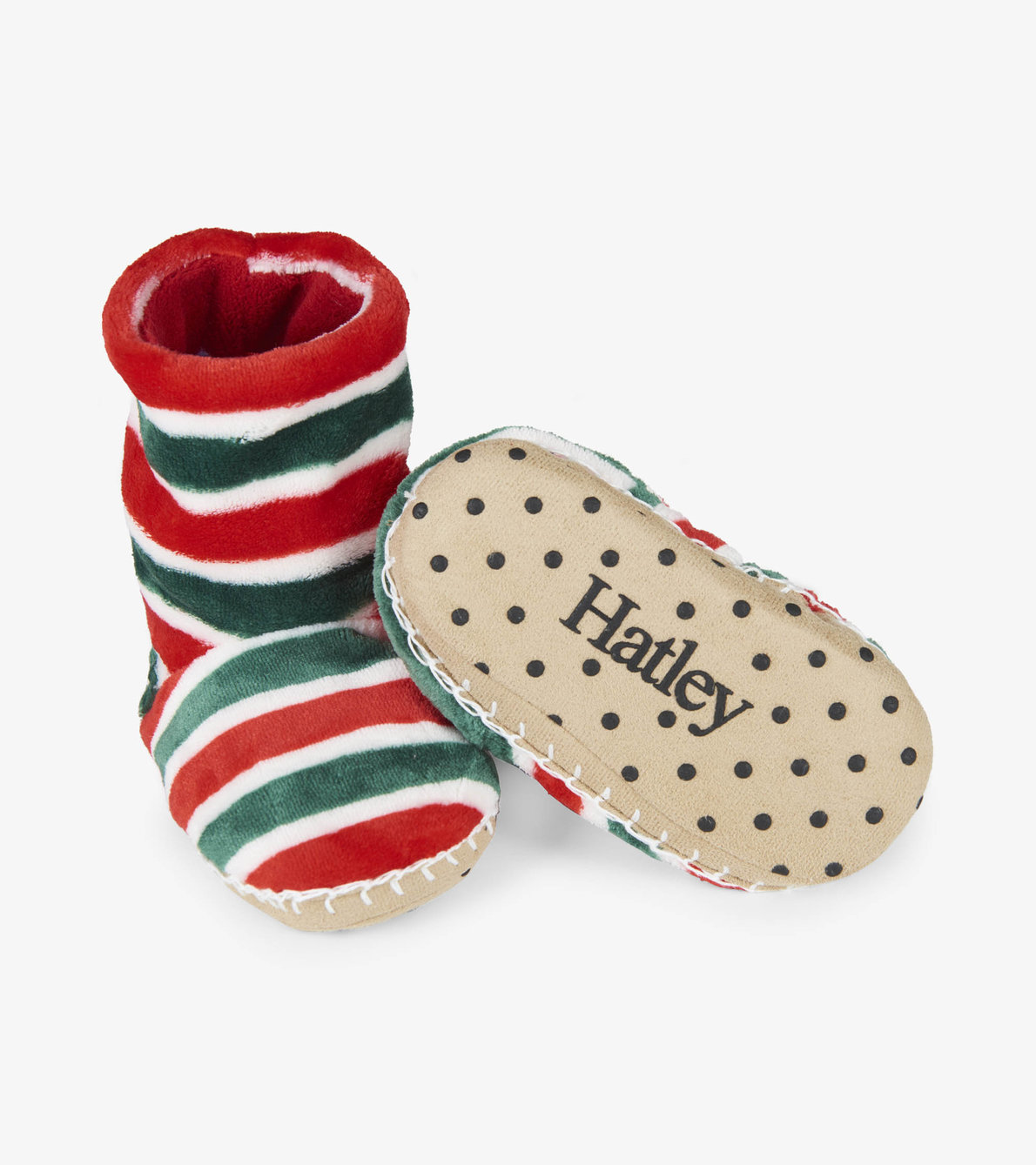 View larger image of Holiday Stripe Fleece Slippers