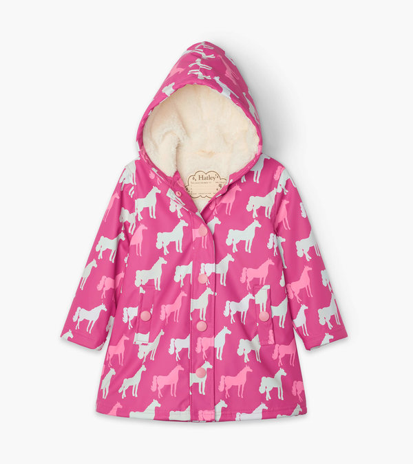 Horse Silhouettes Sherpa Lined Colour Changing Splash Jacket