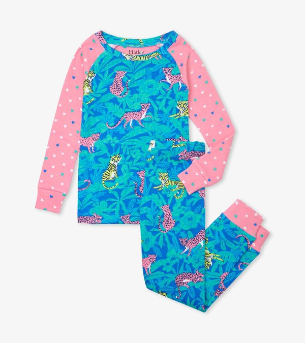 Jungle Cats Organic Cotton Raglan Pajama Set