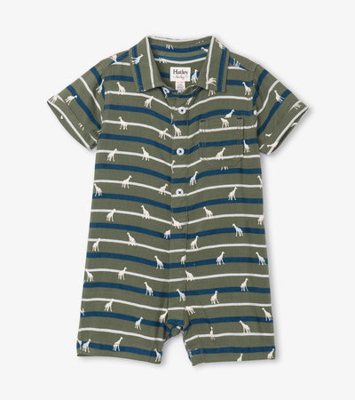 Jungle Safari Baby Woven Romper