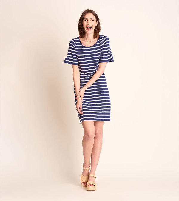 Kelli Dress - Patriot Blue Stripes