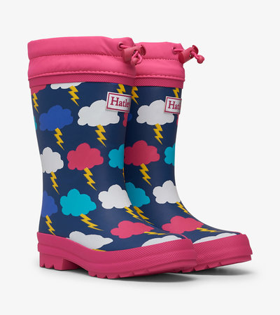 Lightning Clouds Sherpa Lined Rain Boots