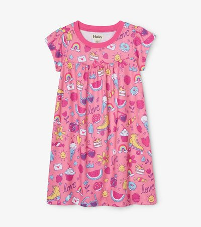 Lovely Doodles Short Sleeve Nightdress