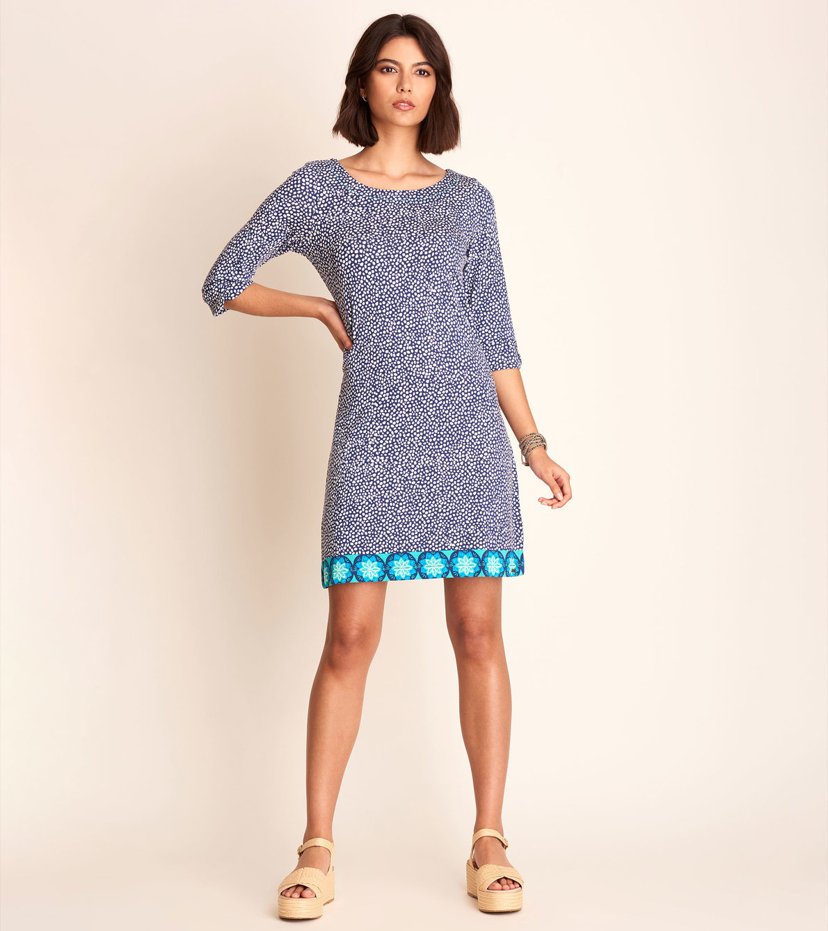 View larger image of Lucy Dress - Blue Micro dots