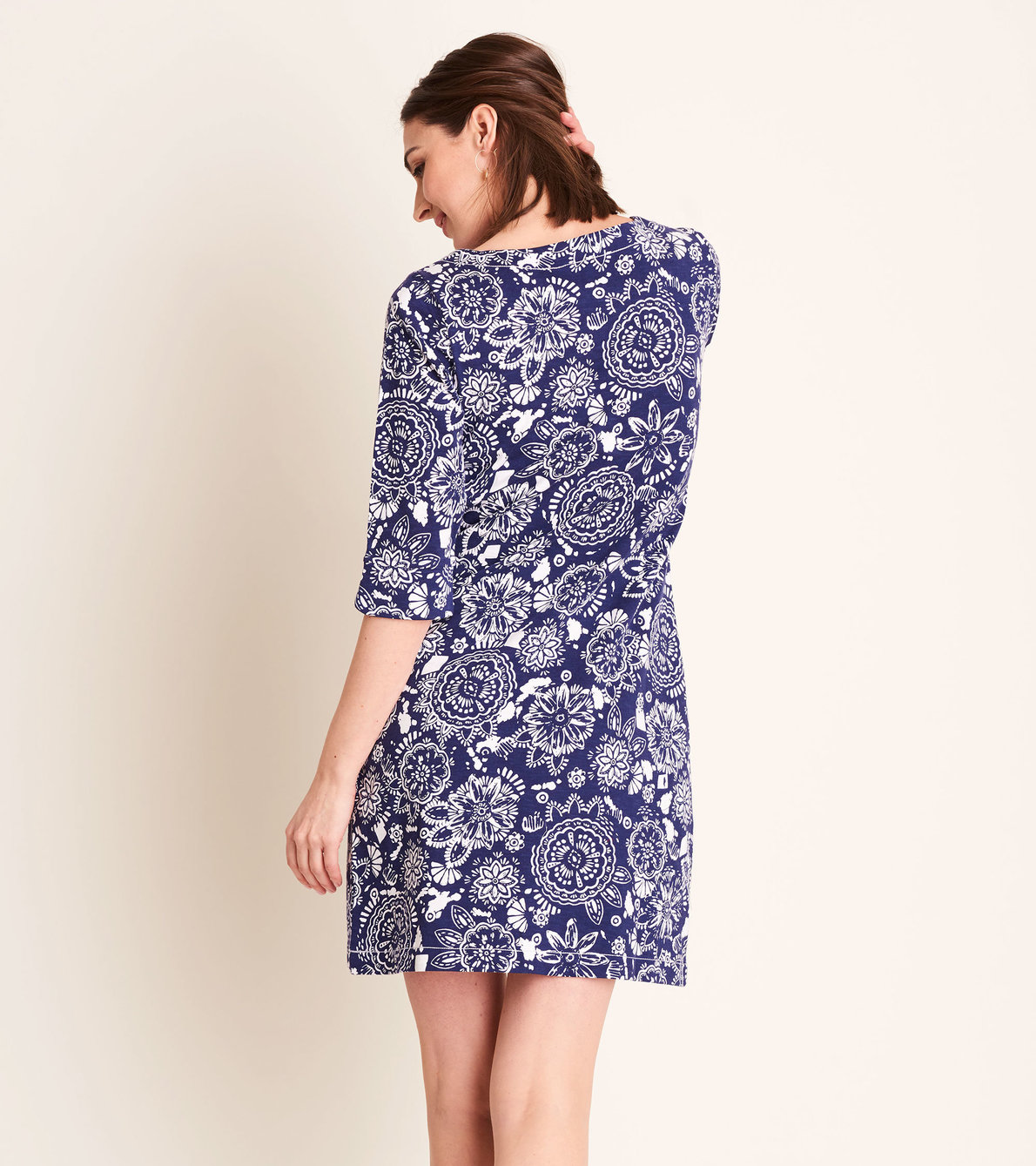 View larger image of Lucy Dress - Navy Mandala Flowers