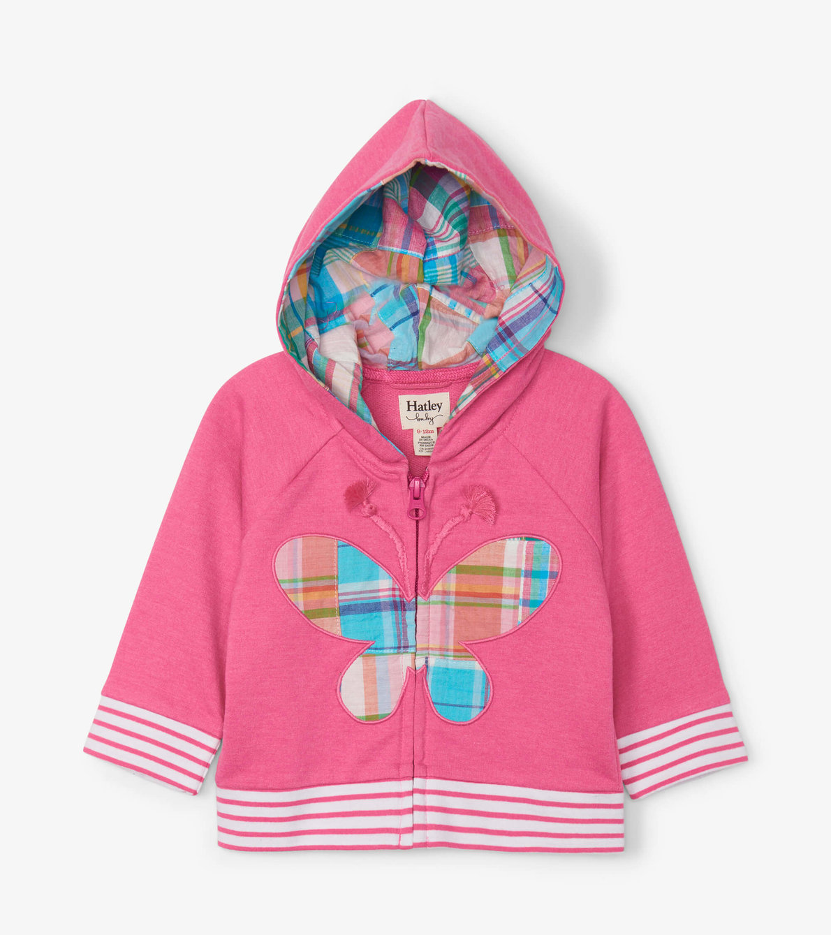 View larger image of Madras Plaid Butterfly Baby Hoodie & Short Set