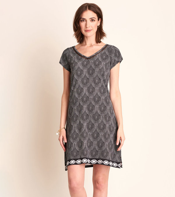 Marina Dress - Black Scallop