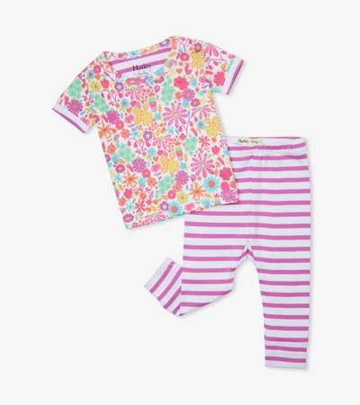 Mini Flowers Organic Cotton Baby Short Sleeve Pajama Set