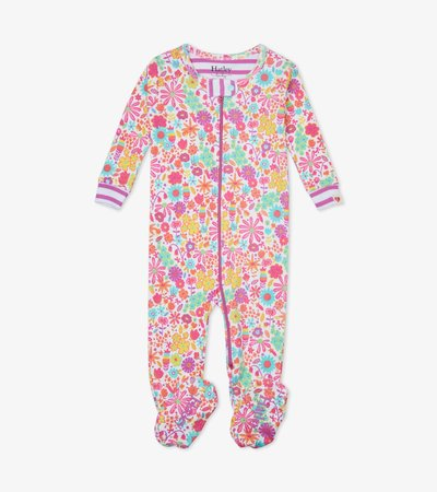 Mini Flowers Organic Cotton Footed Coverall