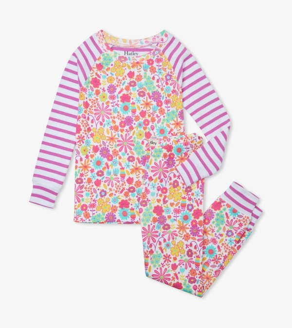 Mini Flowers Organic Cotton Raglan Pajama Set