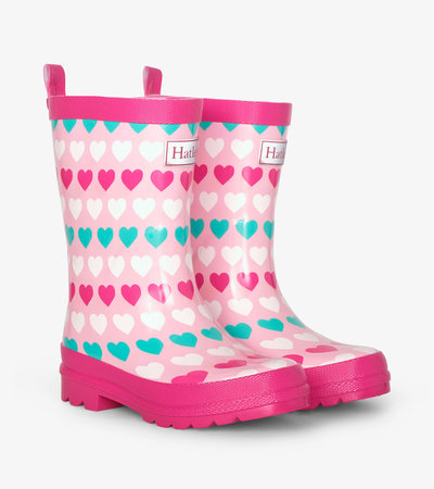 Multicolour Hearts Shiny Rain Boots