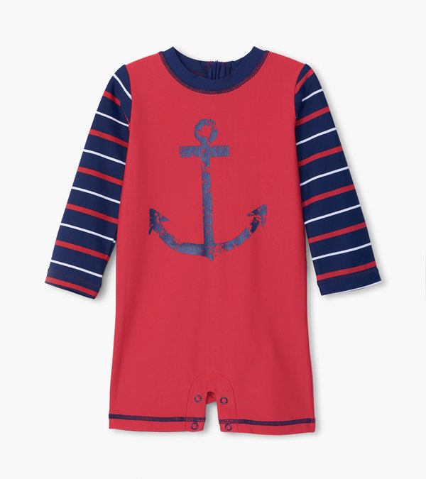 Nautical Anchor Baby Rashguard One-Piece