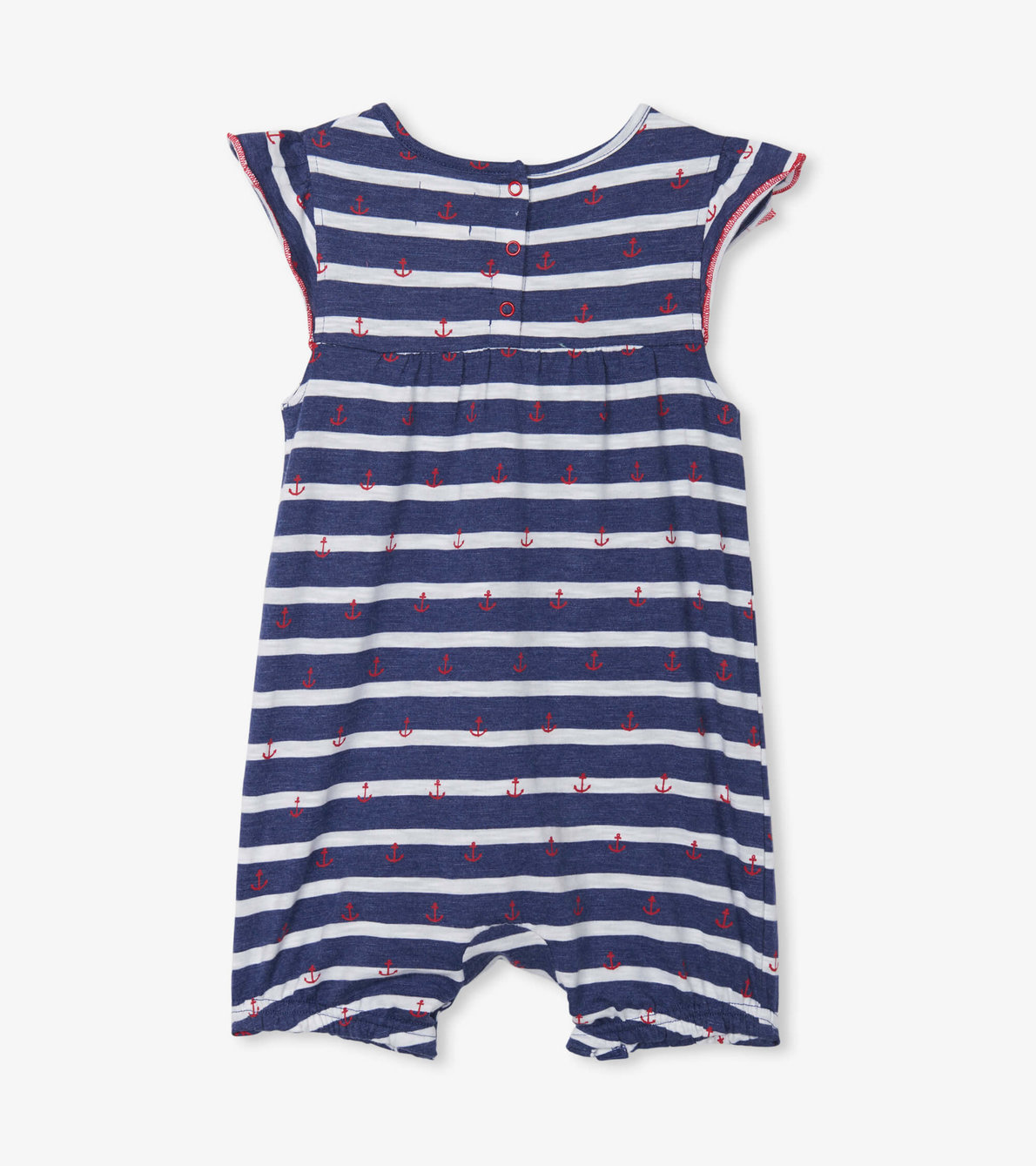 View larger image of Nautical Stripe Baby Flutter Sleeve Romper
