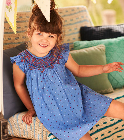 Nautical Swiss Dots Smocked Dress