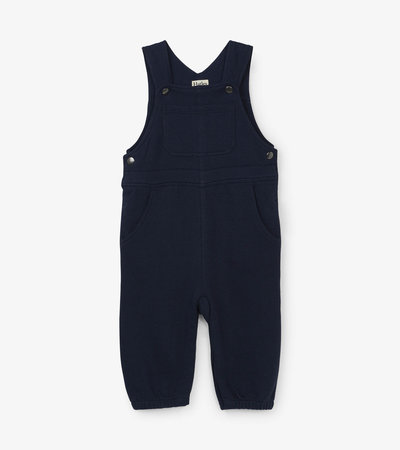 Navy Knit Baby Overalls