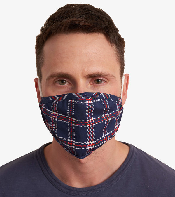 Non-Medical Reusable Adult Face Mask - Navy Plaid
