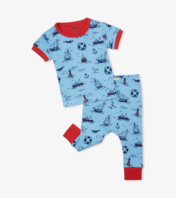 Out At Sea Organic Cotton Baby Short Sleeve Pajama Set