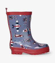 Hatley Kids Wellies Shiny Paper Planes Design with Contrast Red Soles /& Trim