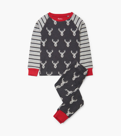 Patterned Stags Organic Cotton Raglan Pajama Set