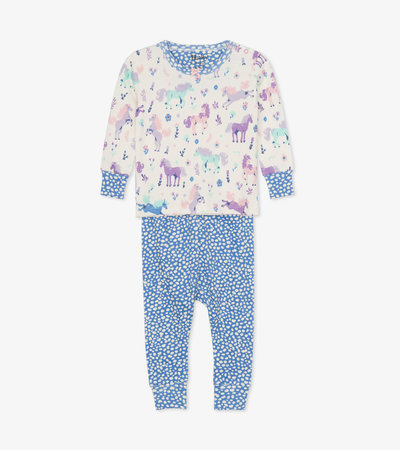 Playful Ponies Organic Cotton Baby Pajama Set