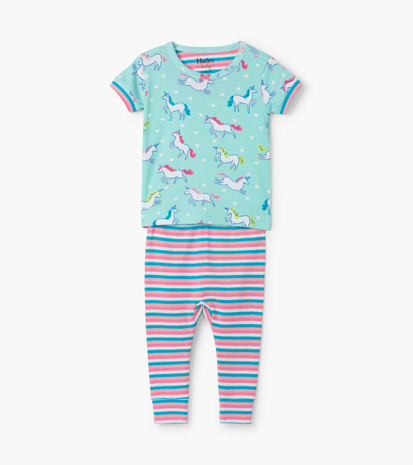 Prancing Unicorns Organic Cotton Baby Short Sleeve Pajama Set