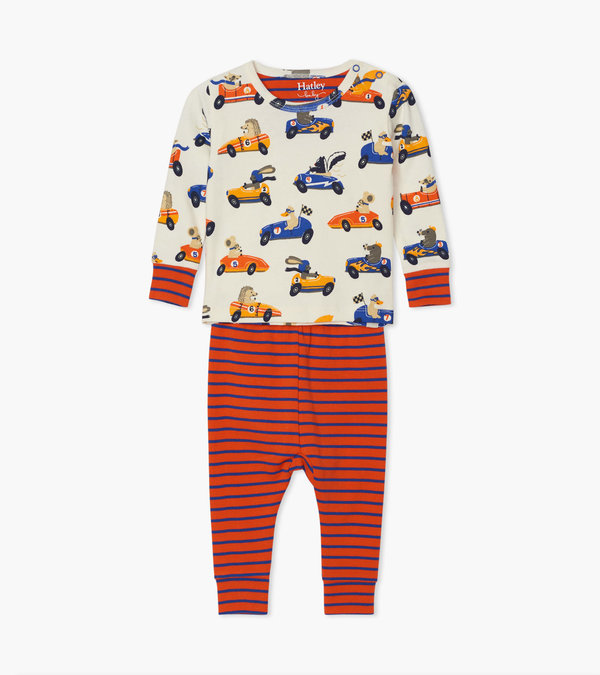 Racing Animals Organic Cotton Baby Pajama Set