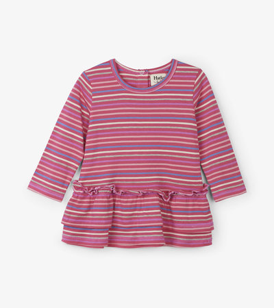 Rainbow Candy Stripes Baby Layered Dress