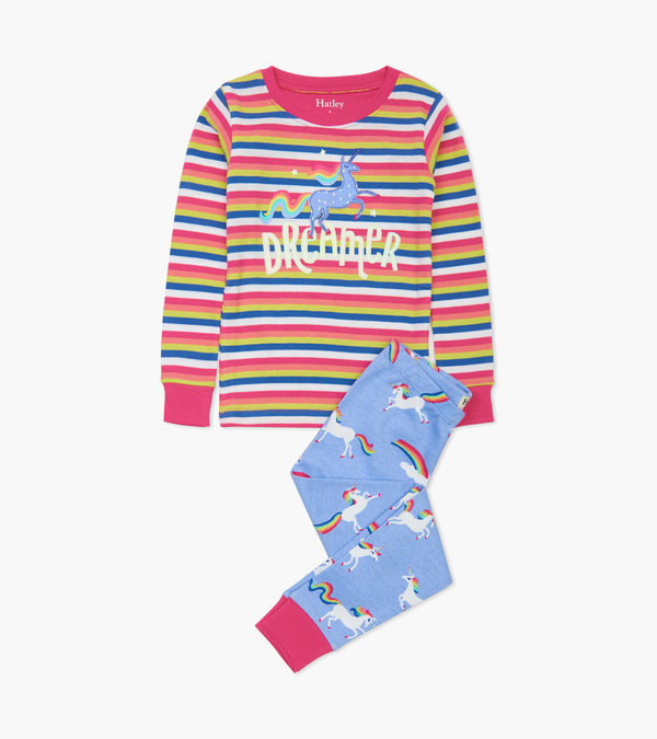 Rainbow Unicorns Appliqué Pajama Set