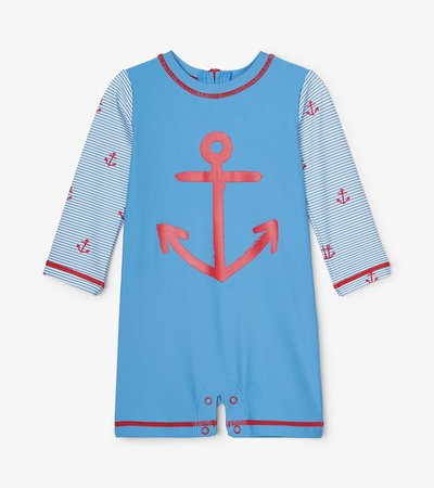 Red Anchors Baby One-Piece Rashguard