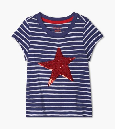 Red Star Flip Sequins Graphic Tee