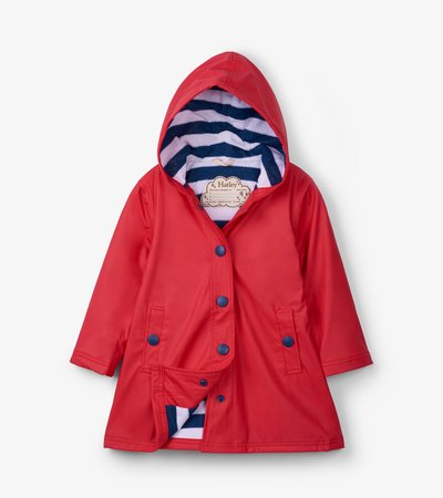 Red with Navy Stripe Lining Splash Jacket