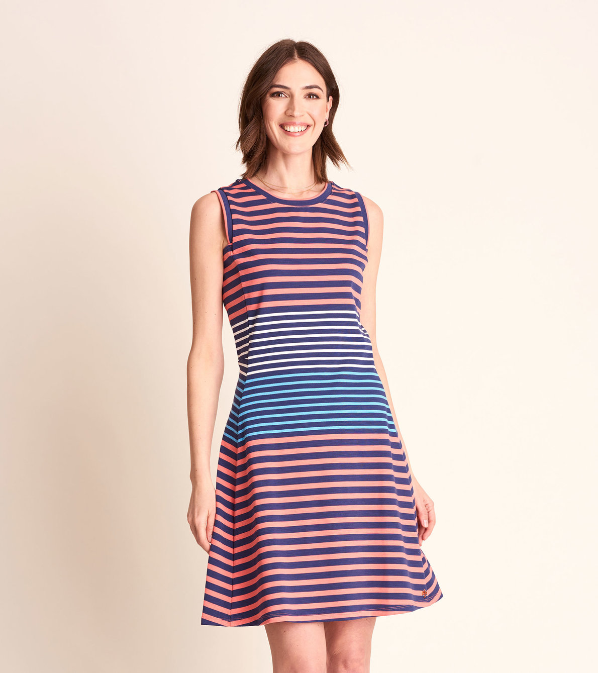 View larger image of Sarah Dress - Navy and Coral Stripes