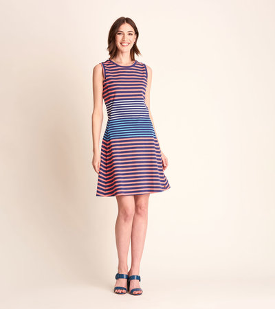 Sarah Dress - Navy and Coral Stripes