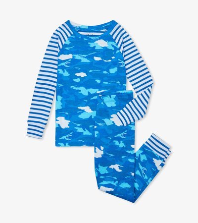 Shark Camo Organic Cotton Raglan Pajama Set