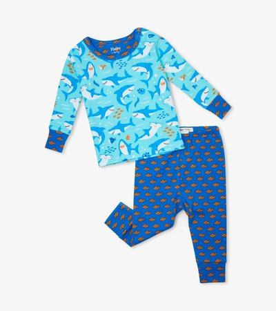 Shark Party Organic Cotton Baby Pajama Set