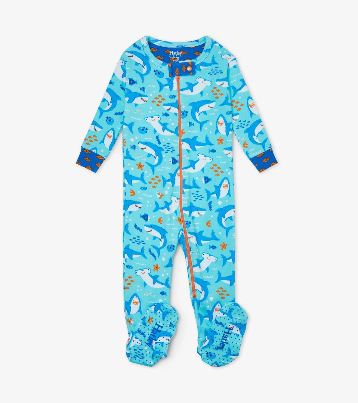 View larger image of Shark Party Organic Cotton Footed Coverall