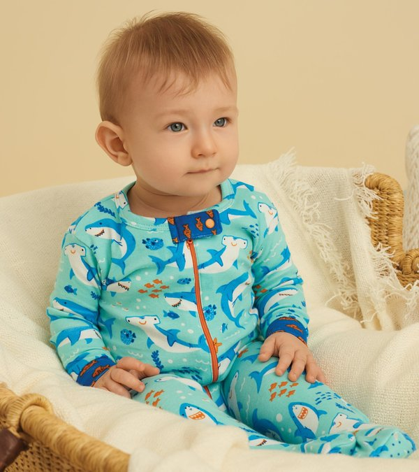 Shark Party Organic Cotton Footed Coverall