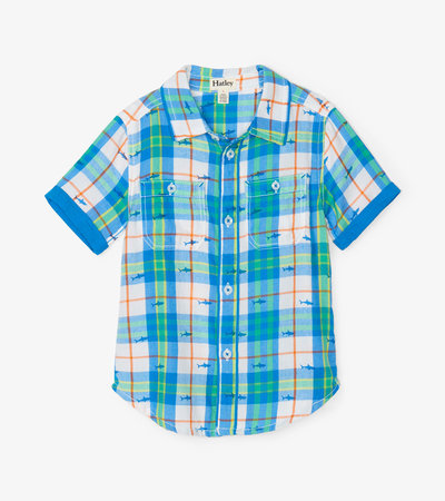 Shark Plaid Short Sleeve Button Down Shirt