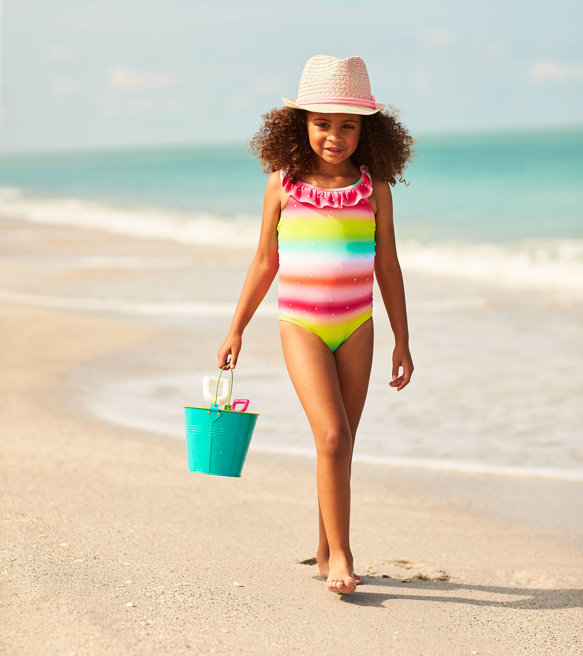 View larger image of Shimmer Rainbow Ruffle Sleeve Swimsuit