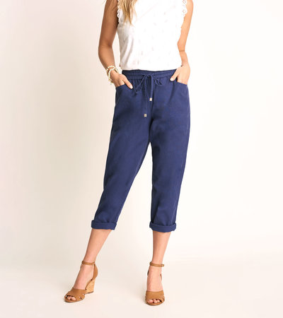 Sierra Cotton Linen Pants - Patriot Blue