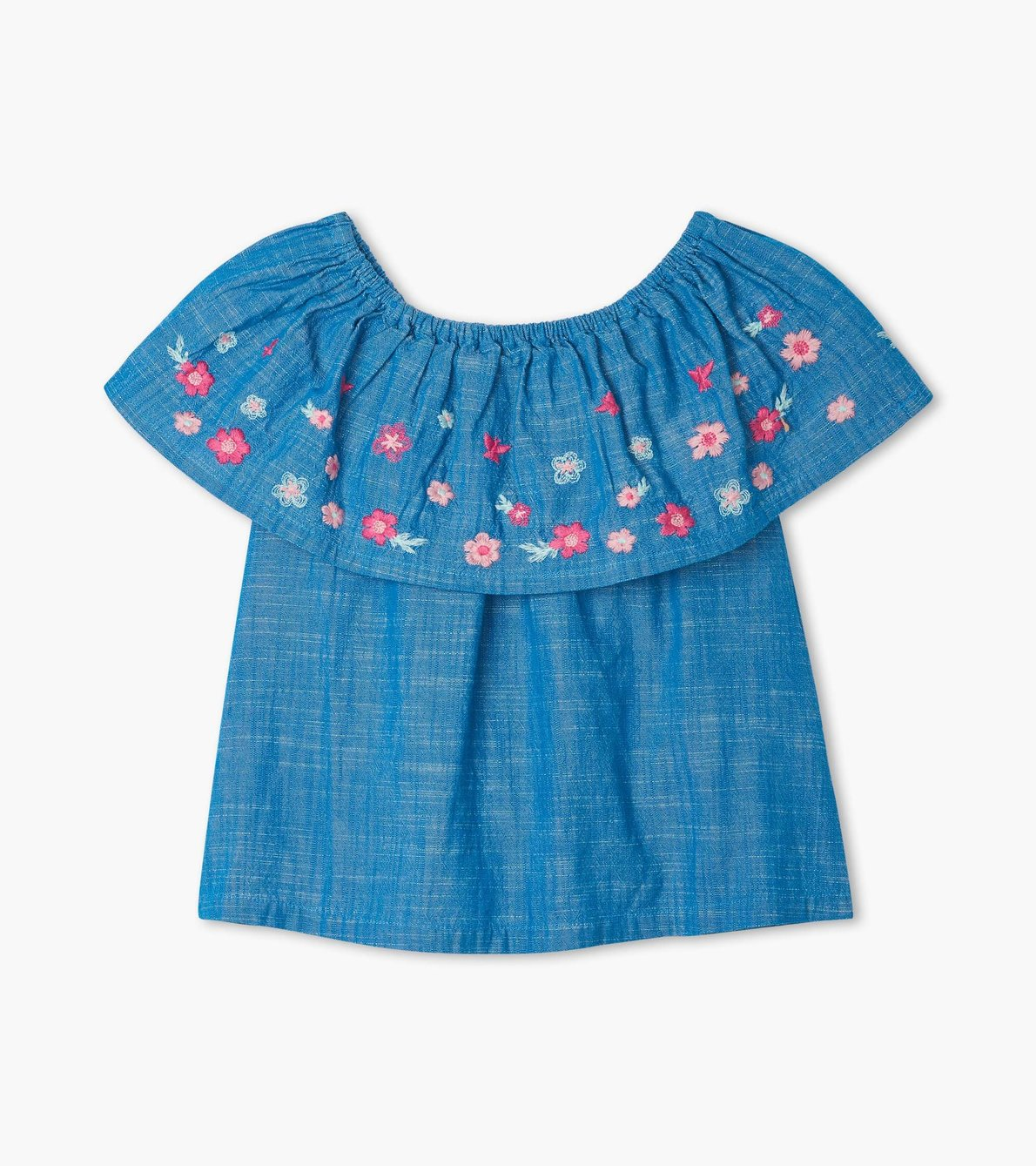 View larger image of Spring Flowers Shoulder Flounce Top
