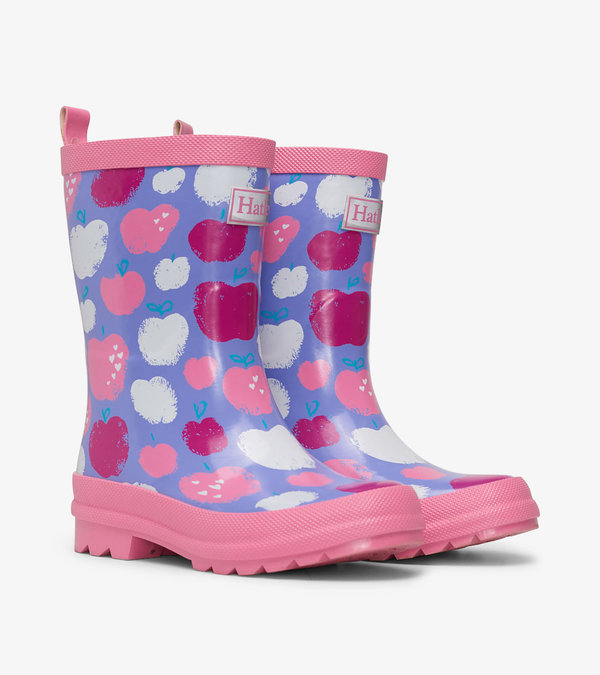 Stamped Apples Shiny Rain Boots